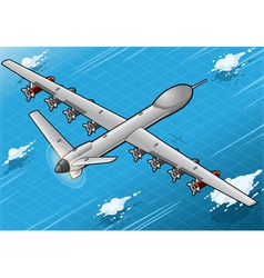 Isometric drone airplane flying in rear view vector