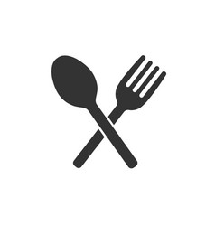 Crossed fork and spoon icon vector