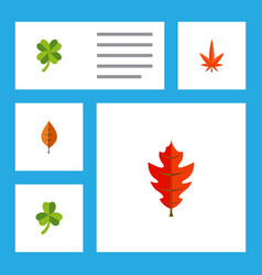 Flat icon leaves set of frond aspen leaf and vector
