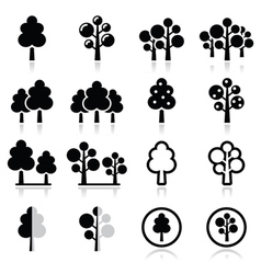Trees forest park icons set vector