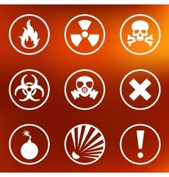 Flat warning signs labels vector