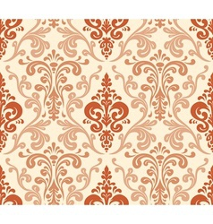 Seamless elegant damask pattern warm colors vector