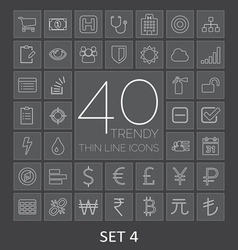 40 trendy thin line icons for web and mobile set 4 vector