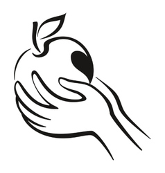 Hands and apple icon vector
