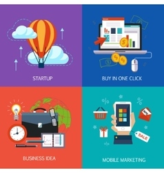 Business banners start-up buy in one click vector