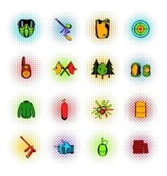 Paintball game comics icons set vector