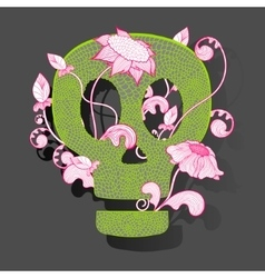 Decorative skull woth fantasy flowers on vector