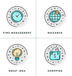 A set of four icons on business issues such as vector