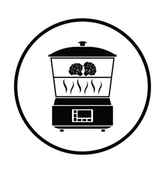 Kitchen steam cooker icon vector