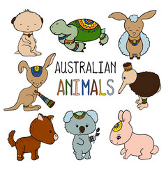 Australian animals colorful on vector