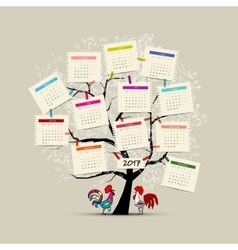 Calendar tree 2017 for your design vector image