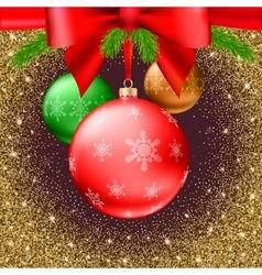 Christmas balls green fir branches bow shiny vector