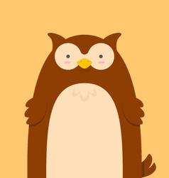cute big fat brown owl vector image vector image