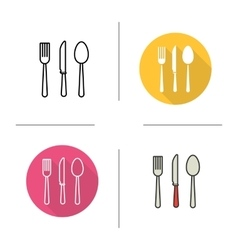 Cutlery flat design linear and color icons set vector