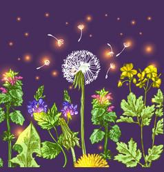 Decorative floral sketches vector