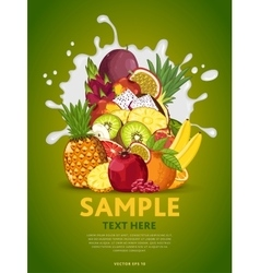 Fruit mix on milk splash vector