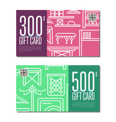Gift card linear set for corridor furniture vector