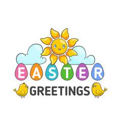 happy easter label vector image vector image