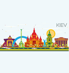 Kiev skyline with color buildings and blue sky vector