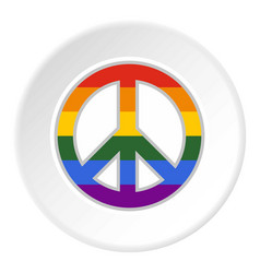 Lgbt peace sign icon circle vector