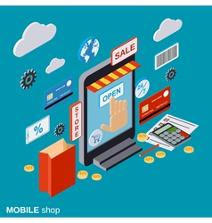 Mobile store online shopping distant trading vector
