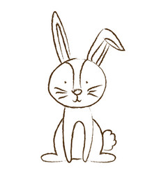 monochrome hand drawn silhouette of bunny sitting vector image