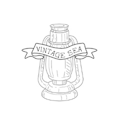 Oil lamp vintage sea and nautical symbol hand vector