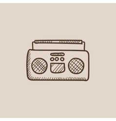 Radio cassette player sketch icon vector