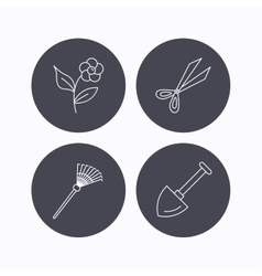 Scissors flower and shovel icons vector image vector image