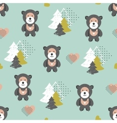 seamless teddy bear pattern vector image vector image