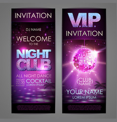 set of disco background banners night club poster vector image