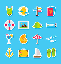Summer travel stickers vector