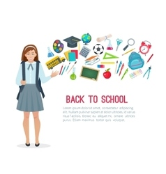 Teen student girl and school supplies vector image
