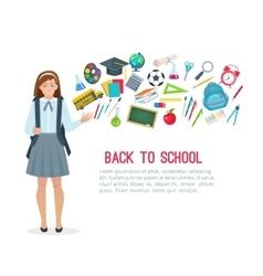 Teen student girl and school supplies vector