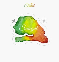 Travel around the world senegal watercolor map vector
