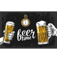 Two hands holding beer glasses mug hand drawn vector