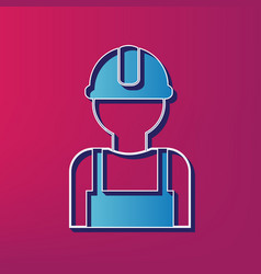 Worker sign blue 3d printed icon on vector