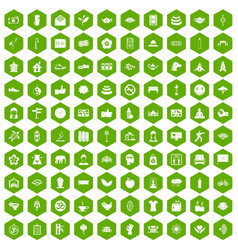 100 yoga studio icons hexagon green vector
