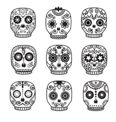 Sugar skull set day of the dead design vector