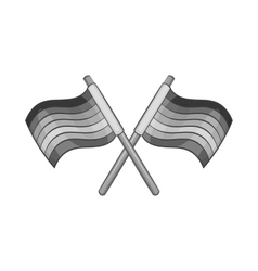 Two crossed striped flags icon vector image