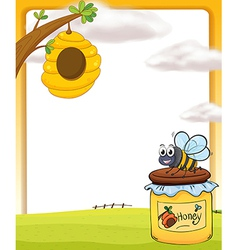 A honey bee and a bottle vector image