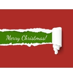 Merry Christmas green torn edge template vector image