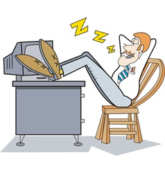 sleeping on job vector image
