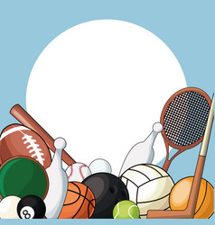 set sport balls equipment icon vector image