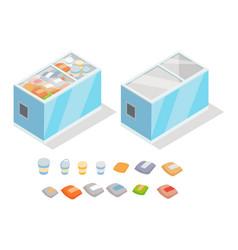 Frozen products in store fridge isometric vector