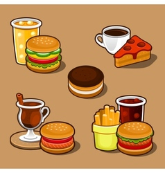 Set of colorful cartoon fast food and cake vector
