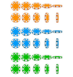 Collection of 3d colored casino chips vector