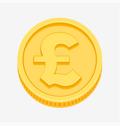 british pound sterling symbol on gold coin vector image