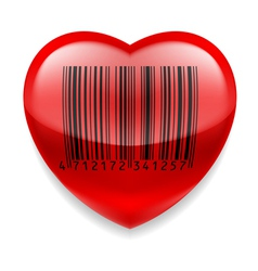 Red heart with barcode vector image