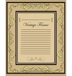 vintage frame gold ornament vector image